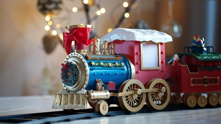 ♥ - craciun, train, red, christmas, toy, blue