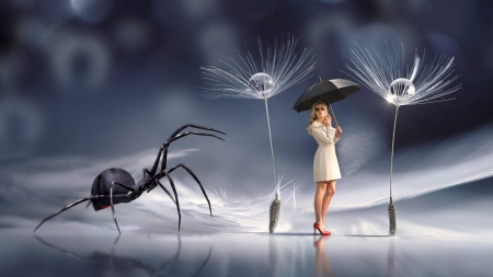 :) - dandelion, girl, seed, fantasy, umbrella, spider