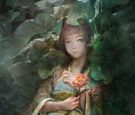 Fantasy girl - fantasy, nhan nguyen, green, girl, pink, leaf, art, frumusete, luminos, peony