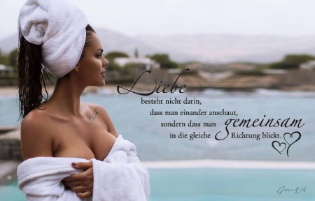 Love - bathrobe, women, quote, love