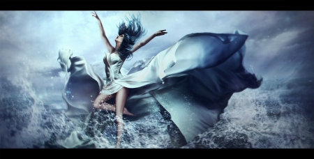 Elements ~ Water - blue, daria ridel, fantasy, water, girl, wind, elements