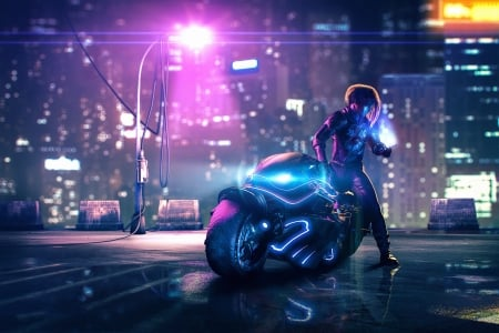 The rider - fantasy, luminos, rider, neon, daniele gay, pink, motorcycle, blue, synthwave