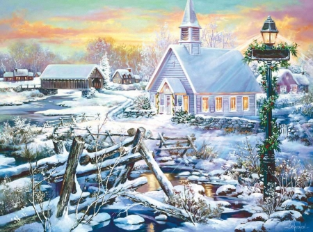 Perfect Peace - fence, cottages, snow, painting, river, church, winter, artwork, covered bridge