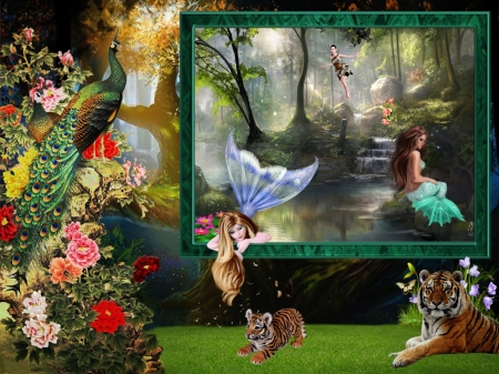 The Curious Mermaid - Green, Flowers, Tree, Tigers, Make Believe, Colorful, Tiger Cub, Nature, Enchnated, Fairy, Peacock, Frame, Outdoors, Collage, Abstract Digital, Pond, Mermaid, Curious Mermaid, Curious, Fantasy, Water, Fanasty Forest, Photo Manipulation, Animals