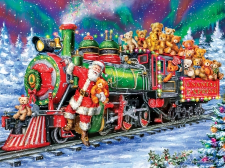 North Pole delivery - santa, craciun, train, christmas, painting, toy, pictura, red, art, green