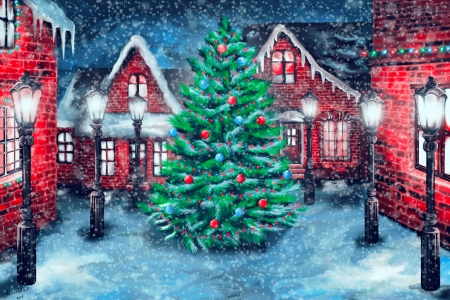Winter village - winter, art, christmas, houses, decoration, beautiful, new year, tree, snow, snowflakes, snowfall, village