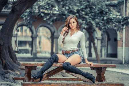 Cowgirl On A Table - asian, brunettes, boots, cowgirls, table