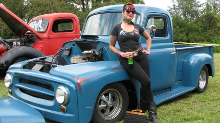 Cowgirl At A Truck Show - brunettes, boots, pickups, cowgirls