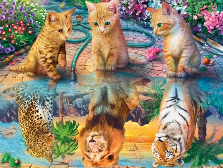 Kittens Dreams - cats, small, big, kittens, puzzles, jigsaw