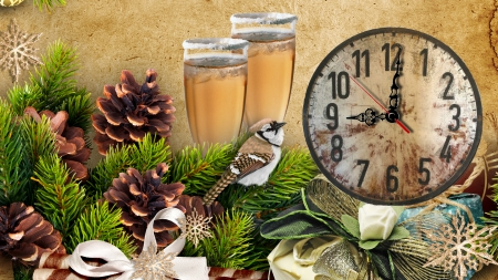 Celebrate New Year - New Year, cones, fir, champagne, clock, ribbons, time, greenery, bird, celebrate