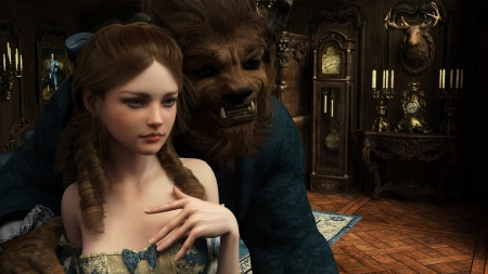 Beauty and the Beast - couple, sirtancerede, beauty and the beast, fantasy, sir tancrede, girl, belle