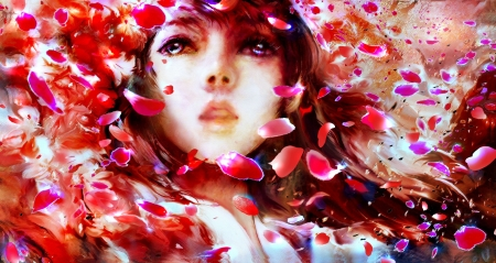 ♥ - girl, red, fantasy, wind, face, by 00, petals