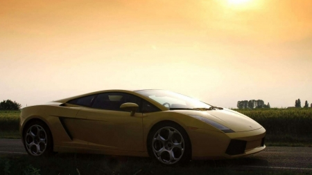 Lamborghini Gallardo - Lamborghini, vehicles, Lamborghini Gallardo, cars, shadows, yellow cars