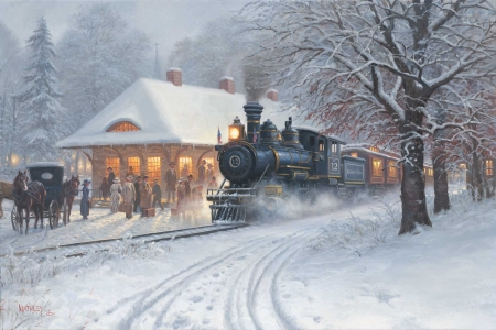 Homecoming - snow, train, people, painting, station, coach, winter, artwork, horse