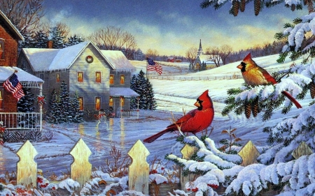 The Precious Things in Life - cardinals, fence, snow, cottage, painting, birds, artwork