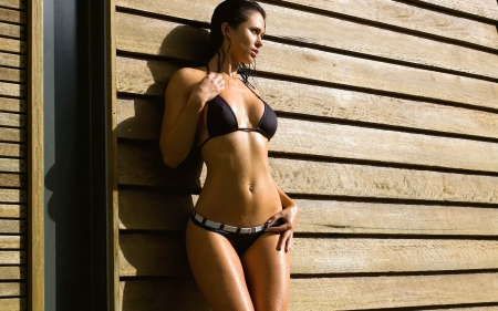 Wet Bikini Model - brunette, wet, model, bikini, pierced navel