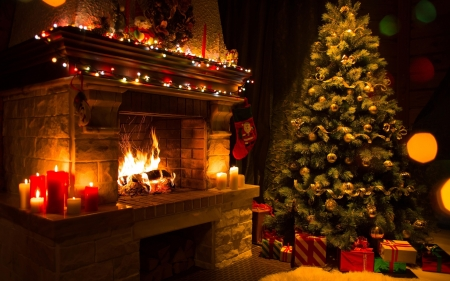 Cosy Christmas - Lights, Pine, Tree, Cosy, Fire, Christmas, Winter, Fireplace, Presents, Evening, Night