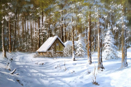 Winter scene - forest, house, snow, color, nature, beautiful, fileds, winter, magic