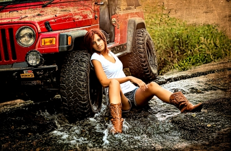 Debbie Did - mud, jeep, cowgirls, brunettes, boots, ranch