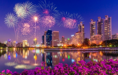 Happy New Year - Thailand, Skyscrapers, fireworks, Benyakitti park, refection, flowers, Bangkok