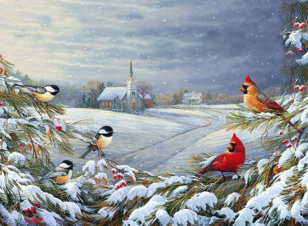 God's Country - chickadees, cardinals, snow, painting, birds, trees, church, artwork