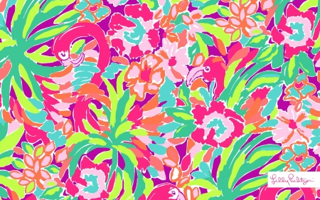 Flowers - green, lilly pulitzer, texture, flower, summer, pink, art, pattern, colorful, vara, paper
