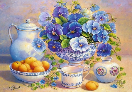 Still Life - pansies, apricots, fruits, porcelain, painting
