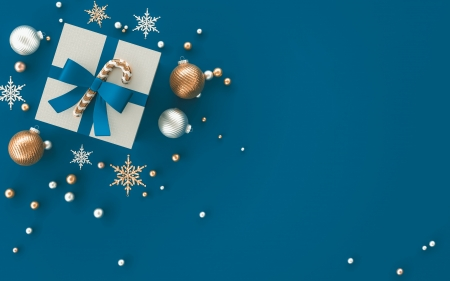 Happy New Year! - card, blue, christmas, craciun, box, new year, gift