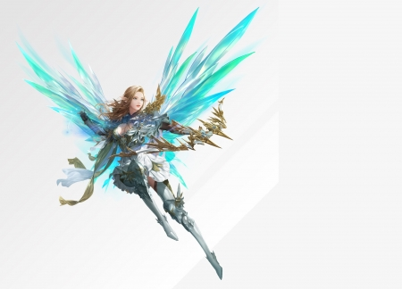 Angel - angel, wings, fantasy, luminos, girl, daeho cha, blue