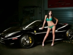 Tara Love Posing with a 458 Ferrari