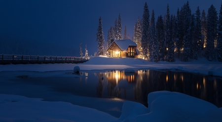 ♥ - house, snow, reflection, lake, night, winter, iarna, light