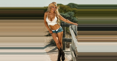 Tall Cowgirl - hats, boots, blondes, cowgirls, fantasy