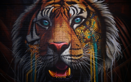 Tiger - art, tigru, tiger, graffiti, wall