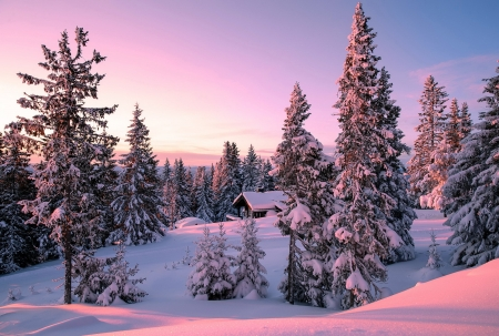 Peaceful wintermood - winter, house, snow, beautiful, sunset, peawceful, mood