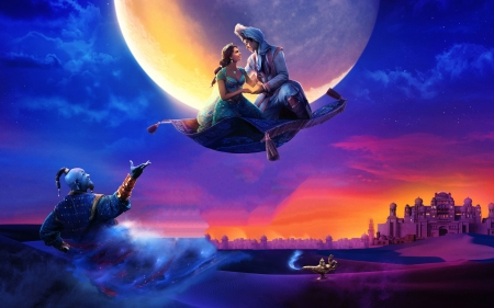 Aladdin - art, moon, girl, flying, colors, sunset, carpet, castle, digital