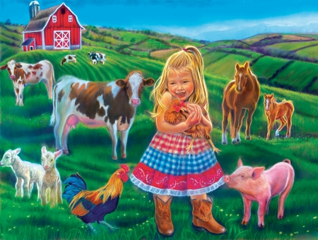 Fun on the farm - pig, girl, painting, poultry, lambs, cows, horses, barn