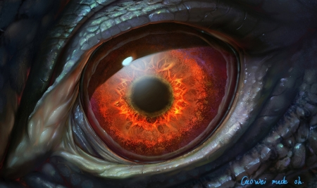Monster's eye - dragon, cao wells, eye, fantasy, orange, monster