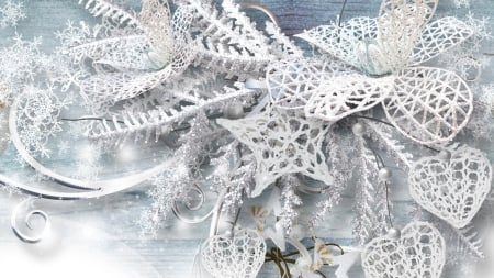 Snowflakes and Lace - leaves, dramatic, lace, fsnowflakes, ice, season, hearts, winter, Firefox theme