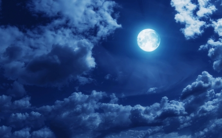 Moon peers through some nighttime clouds - glow, moon, cloud, silver, sky, clouds, night, blue, argent