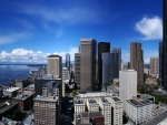 Downtown seattle during a bright blue day