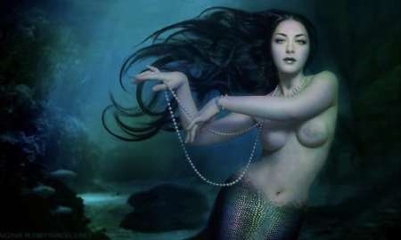 Beauty of The Seas - fantasy, enchanting, Mermaid, pearls, mythical, gorgeous, blue