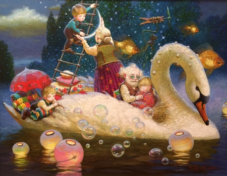 Childhood's Dreams - art, lantern, luminos, children, swan, grandmother, fantasy, bird, painting, white, dream, childhood, pictura, night, grandfather, victor nizovtsev, water