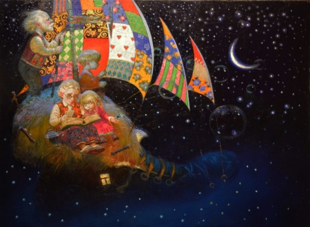Childhood's dreams - childhood, dream, pictura, victor nizovtsev, night, art, fairytale, grandmother, fantasy, ship, painting, grandfather