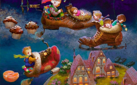 Childhood's dreams - art, sleep, children, dreams, grandmother, cupcake, fantasy, painting, pictura, dream, childhood, shoes, grandfather, victor nizovtsev