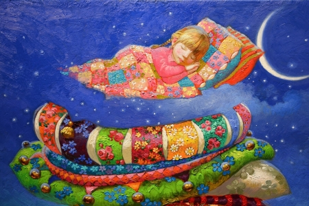 :) - girl, copil, child, victor nizovtsev, colorful, art, sleep, pillow, painting, childhood, pictura