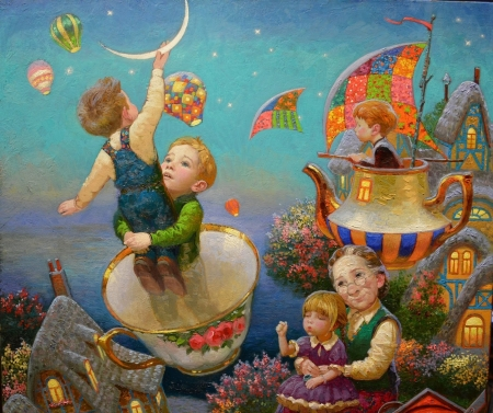 Childhood's dreams - victor nizovtsev, grandmother, children, dreams, teapot, moon, fantasy, cup, painting, childhood, pictura