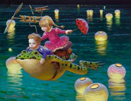 Childhood's dreams - art, lantern, luminos, umbrella, children, frog, fantasy, vara, water, painting, summer, copil, pictura, dream, victor nizovtsev, light