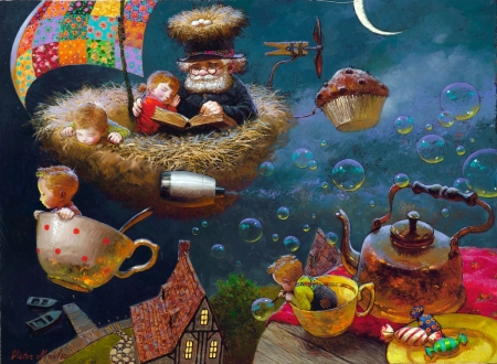 Childhood's dreams - pictura, childhood, victor nizovtsev, grandfather, art, children, boy, fantasy, nest, painting, cup, copil, dream