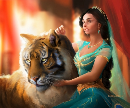 Princess Jasmine - jasmine, fantasy, orange, tigru, tiger, hime, reiha hime, princess, green