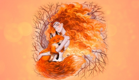 Red - art, luleiya, fantasy, vulpe, redhead, orange, girl, fox